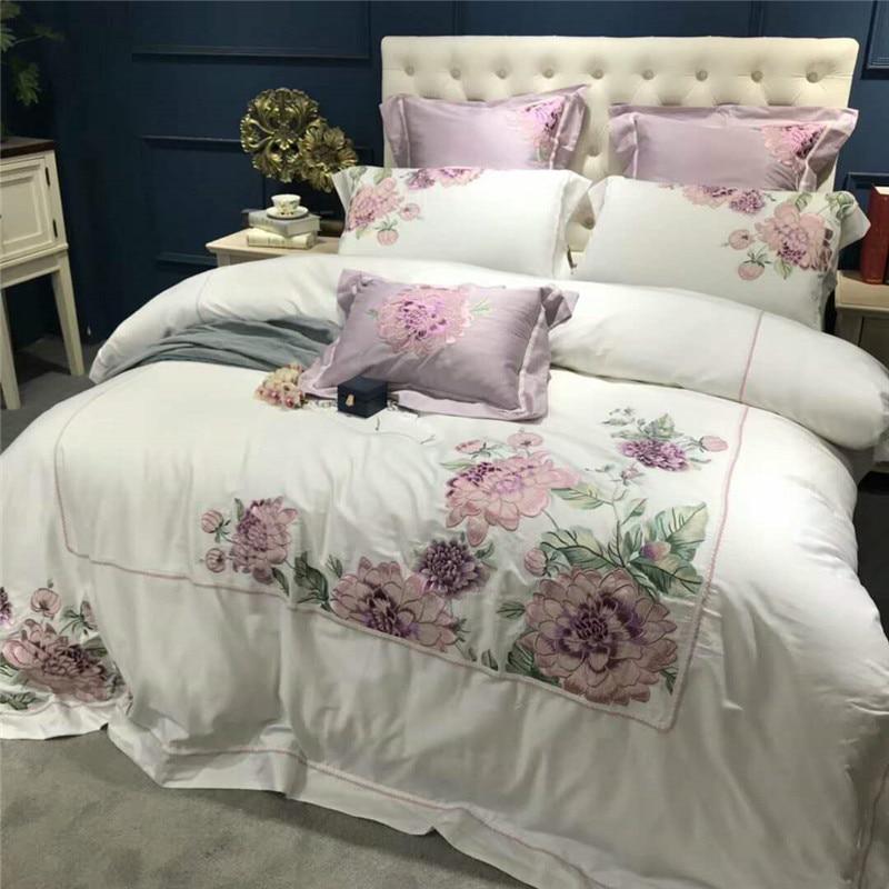 Ev ve Bahçe'ten Yatak Takımları'de Lüks Beyaz Mısır Pamuk Nakış Yorgan yatak örtüsü seti 4/7 Adet Çift Kraliçe çift kişilik yatak seti Çarşaf seti yatak takımı'da  Grup 2