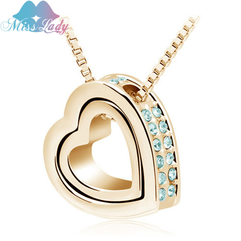 Miss lady valentines day gold color austrian crystal design miss lady valentines day gold color austrian crystal design female heart pendant necklace fashion jewelry for women mly2891 in chain necklaces from jewelry aloadofball Images