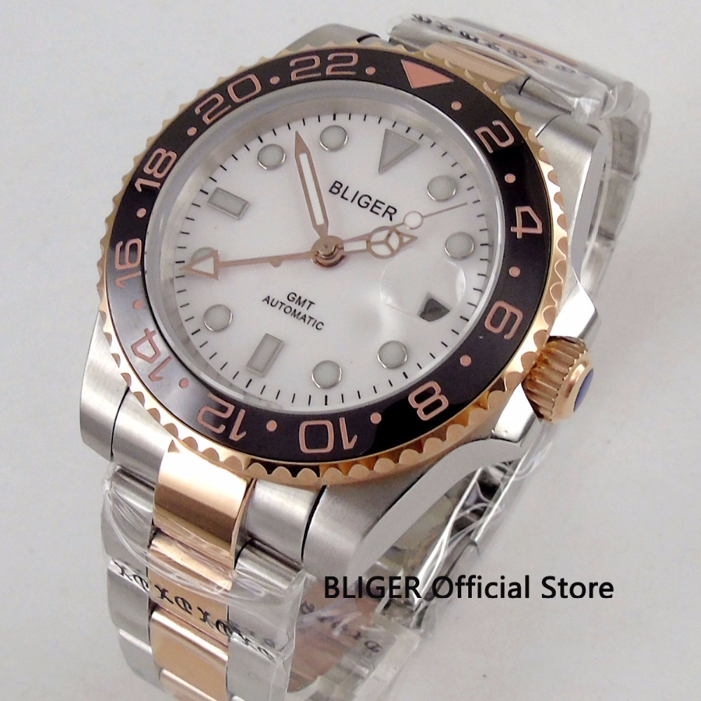 Fashion BLIGER 40mm White Dial Mens Watch Stainless Steel Case Sapphire GMT Automatic Movement Mechanical WatchFashion BLIGER 40mm White Dial Mens Watch Stainless Steel Case Sapphire GMT Automatic Movement Mechanical Watch