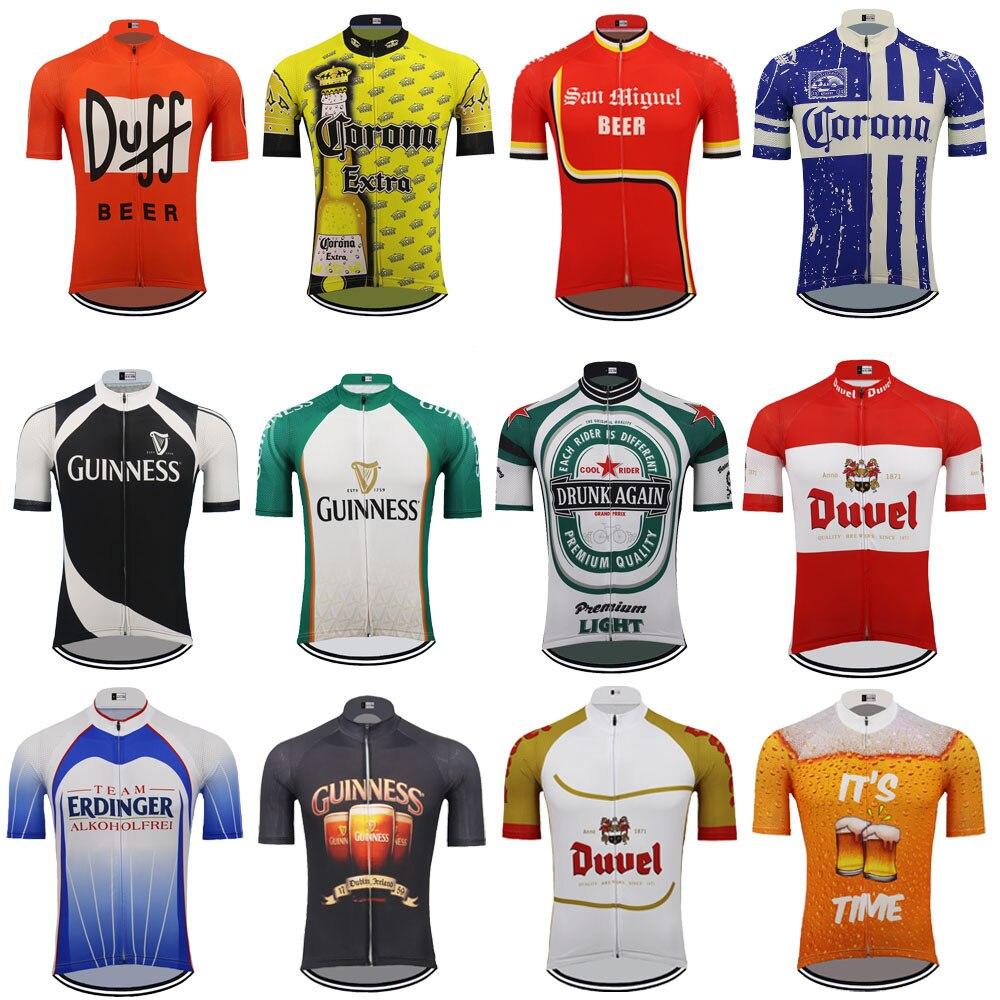 Meerdere keuzes bier wielertrui mannen korte mouw ropa ciclismo triathlon fietsen kleding Bike wear mtb jersey MTB