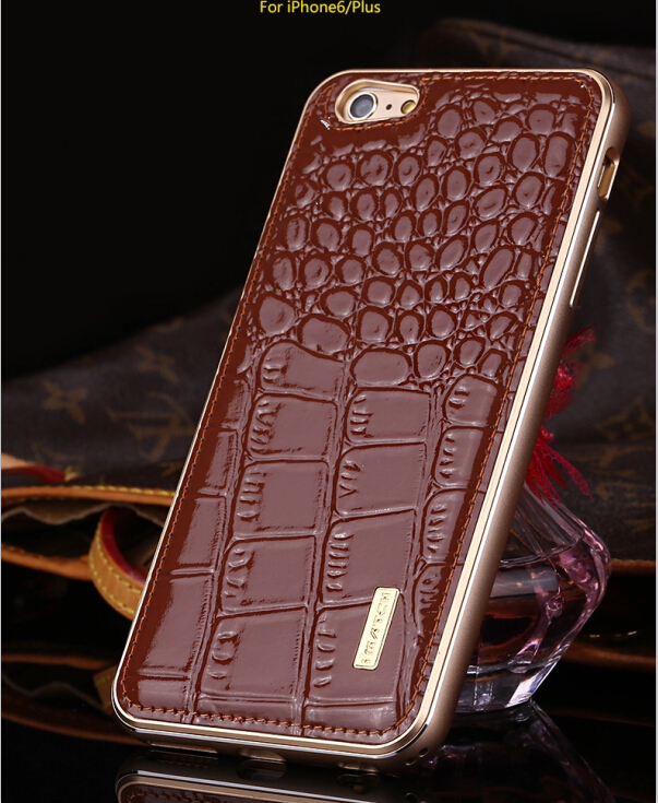 For iPhone 6s Case Crocodile Pattern Genuine Leather Hard Back Cover Luxury Aluminum Metal Bumper Case