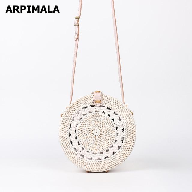Arpimala White Rattan Bags Luxury Designer Handbags Women Vintage Straw Bag Bali Island Wicker Beach
