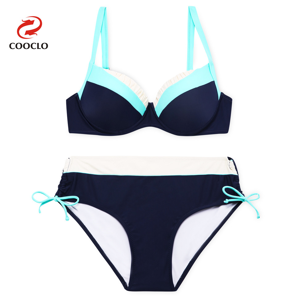 COOCLO Bikini 2019 Plus Size Swimwear Push up Swimsuit Women Patchwork Bikini Set Beach Wear Bathing Suit Vintage Swimming Suits