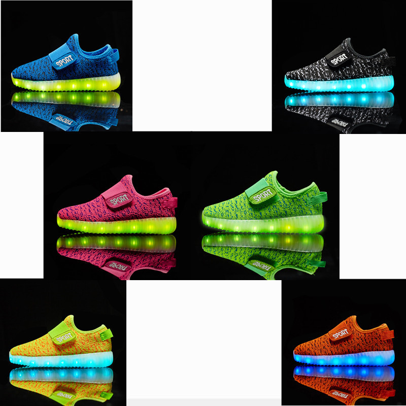 KRIATIV USB Recharge Luminous Sneakers Glowing Led Shoes With Light Toddler Boy Girl Breathable Slippers Light Up Shoes