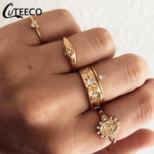 CUTEECO 5 Pcs Retro Gold Color Totem Wedding Rings for Women Crystal Fashion European Ring Set Jewelry Dropshipping