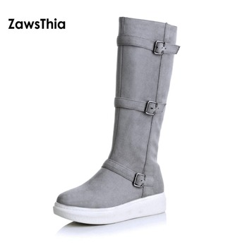 ZawsThia 2018 winter solid grey gray flat heel platform shoes women with buckle mid calf boots riding equestrian girls boots