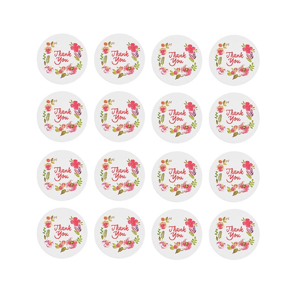 80pcs Rose Flower Thank You Sealing Label Adhesive Kraft Baking Seal Sticker Gift Stickers
