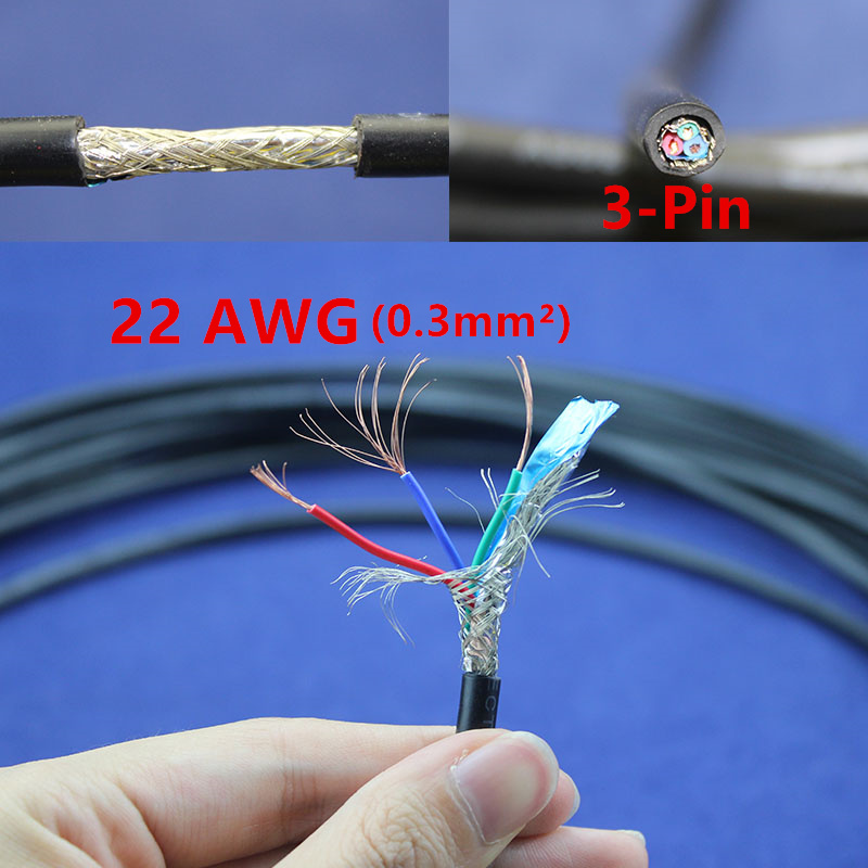 1 meter Copper Electrical Wire 3 Pin 22 AWG Anti interference ...