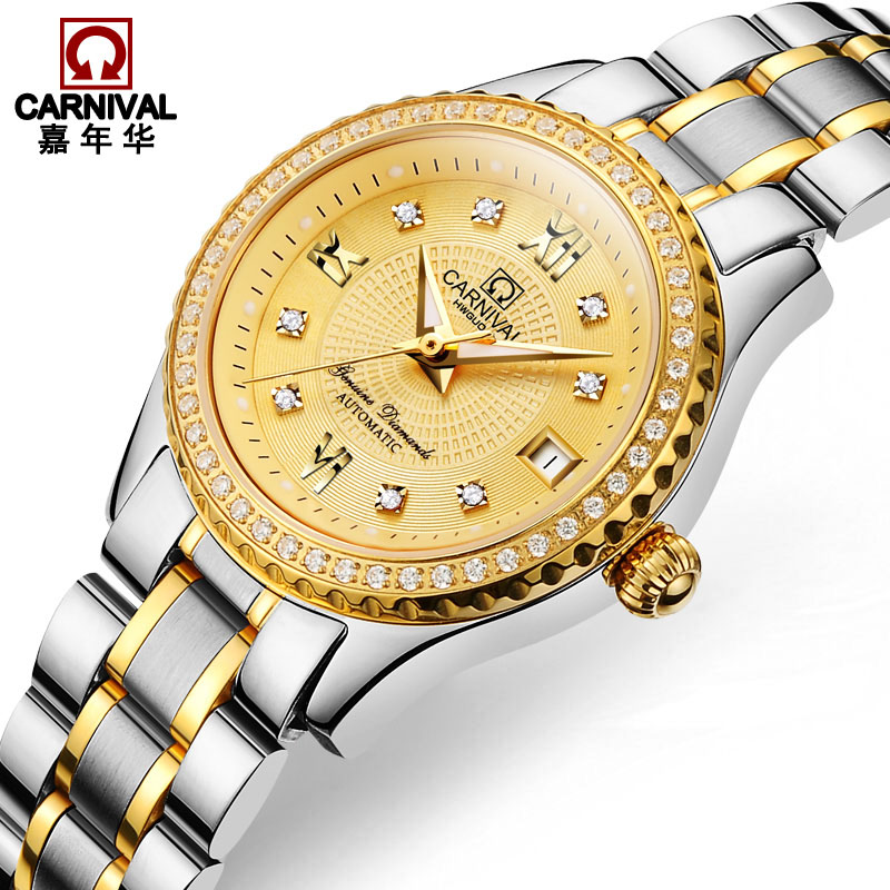 Luxury Gold Plating Diamante men Watch Top brand CARNIVAL Auto mechanical Watches fashion Watch with Sapphire 30m Waterproof tevise fashion auto date automatic self wind watches stainless steel luxury gold black watch men mechanical t629a with tool