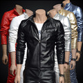 Male leather clothing outerwear red slim PU motorcycle jacket short design gold men's leather clothing singer dancer show