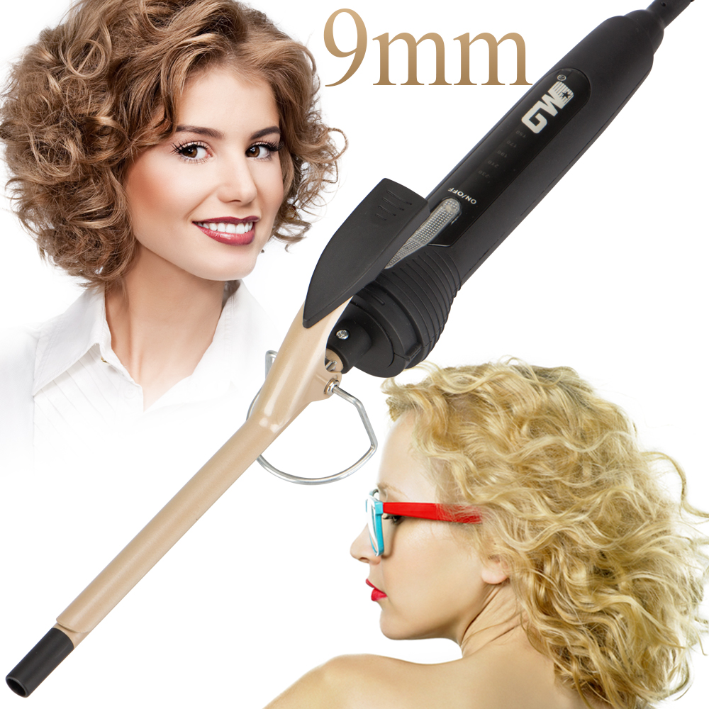 2018 New Arrival Golden Ceramic 9mm Curling Iron Deep Curl Wave Hair Curler Magic Professional Curling Wand Beauty Styling Tools 2017 new arrival raccoon hair curling