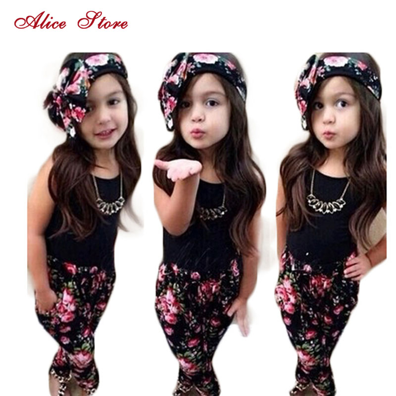 Girls Fashion floral casual suit children clothing set sleeveless outfit +headband 2021 summer new kids clothes set 1