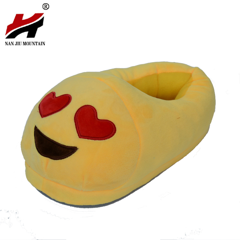 Emoji Slippers Cartoon Plush Slipper Home With The Full Expression Women/ Men Slippers Winter House Shoes One Pair plush winter slippers indoor animal emoji furry house home with fur flip flops women fluffy rihanna slides fenty shoes