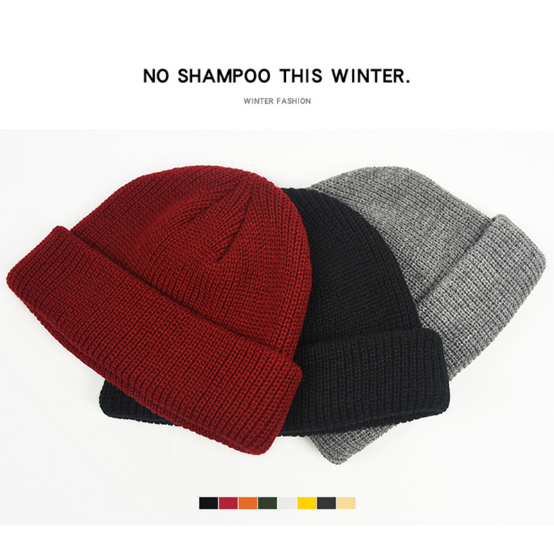 Men Knitted Hat Beanie Skullcap Sailor Cap Cuff Brimless Retro Navy Style Beanie Hat TT@88 5