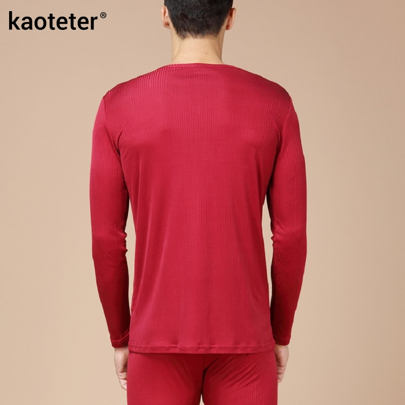 100% de seda pura para hombre Calzoncillos largos cuello en V para hombre conjuntos de ropa interior para hombres trajes térmicos antibacterianos de otoño para hombre - 2