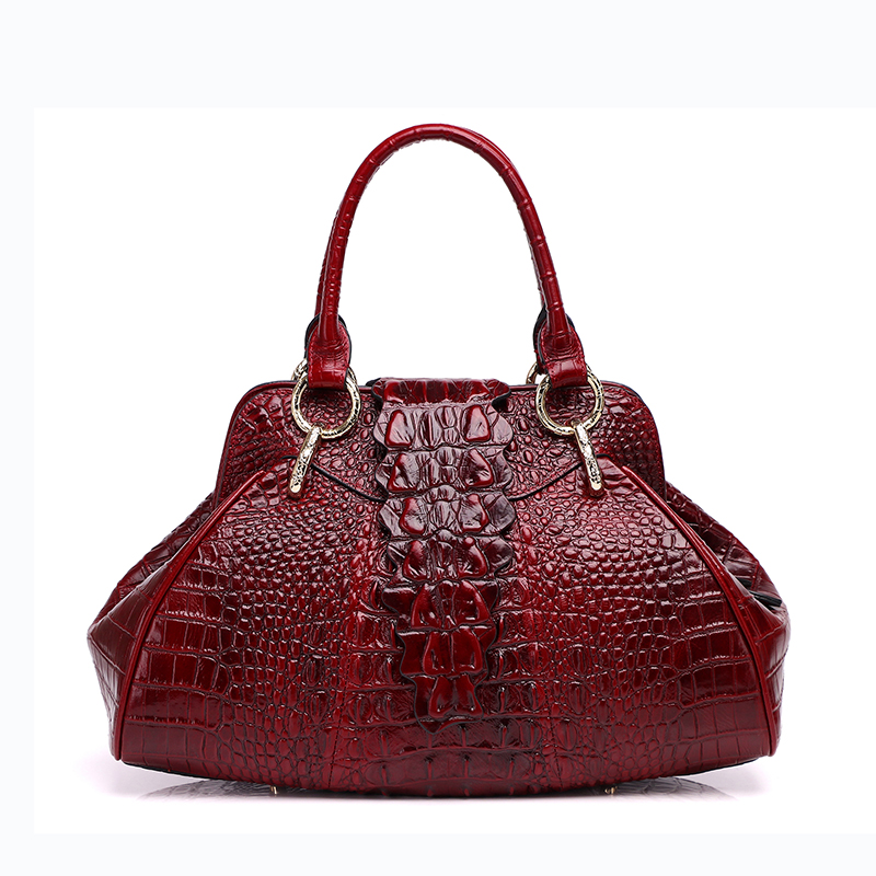 Designer handbags high quality real cow genuine leather bags for women 2017 new fashion alligator hobos totes bags free shipping