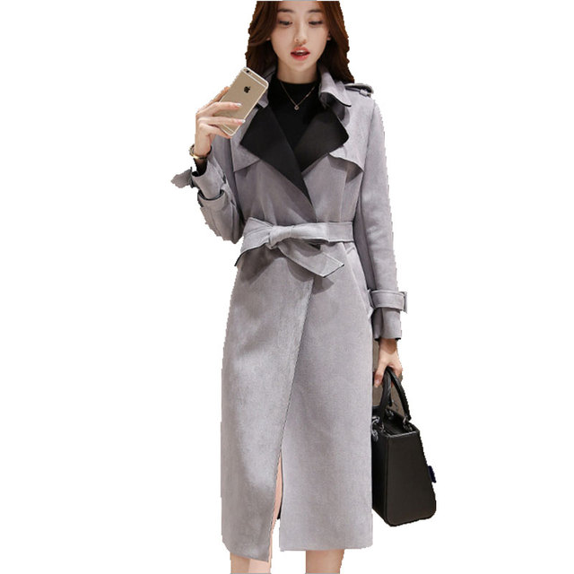 In The Autumn Of 2016  South Korea's New Women's Fashion Temperament Suede  Windbreaker Jacket In The Long Section  Womens Coats