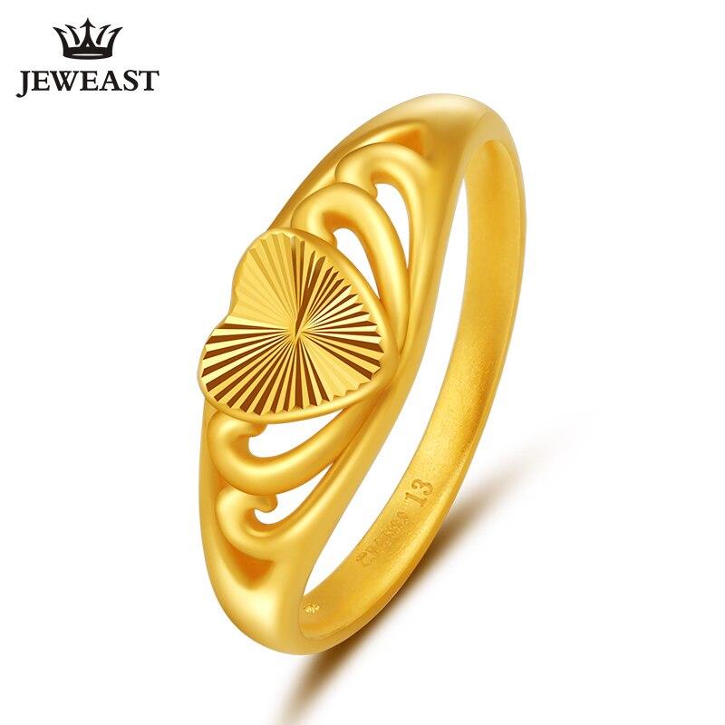 JLZB 24K bague en or pur réel AU 999 anneaux en or massif élégant coeur brillant belle haut de gamme bijoux à la mode vente chaude nouveau 2020