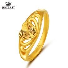 JLZB 24K czystego złota pierścień prawdziwe AU 999 czyste złoto pierścionki eleganckie błyszczące serce piękne ekskluzywne Trendy biżuteria Hot sprzedam nowy 2020