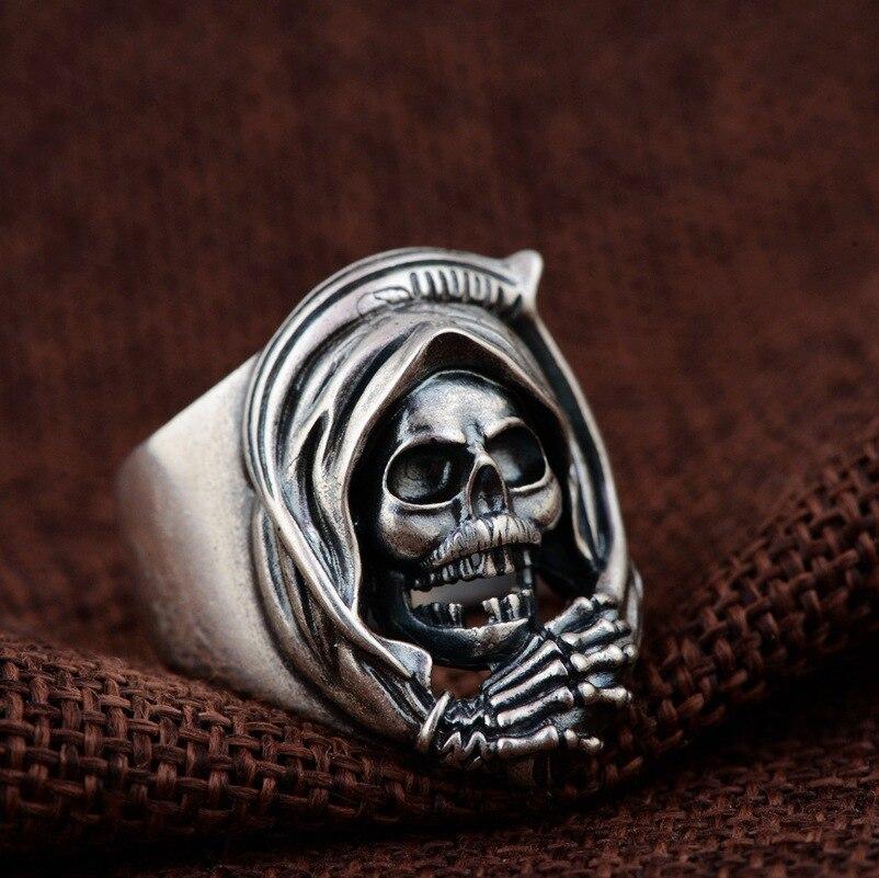 925 bague en argent Sterling crâne pour hommes Punk Rock Style Vintage taille réglable squelette Thai bague en argent hommes personnalité bijoux