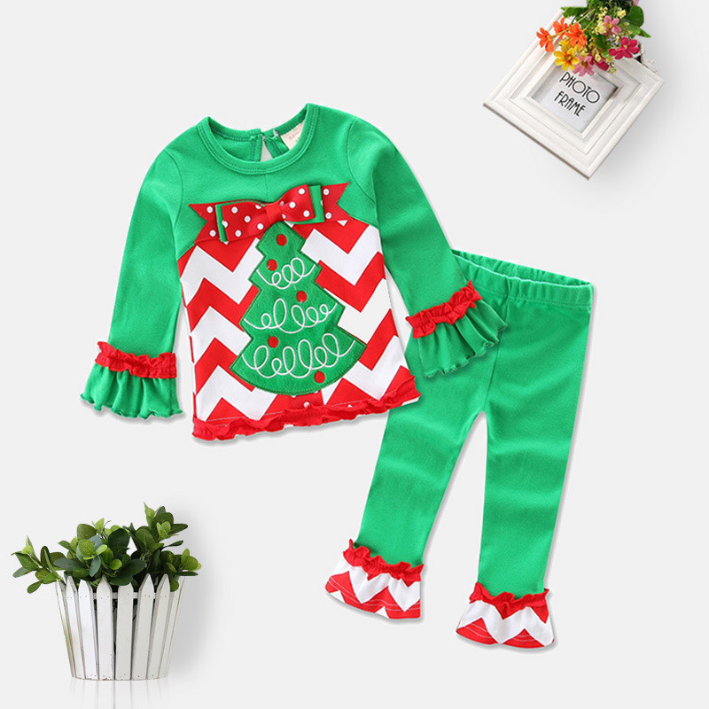 2017 New arrival Christmas clothes Baby boys girls Christmas clothing Sets applique Tree cotton Kids tops + pants Suits new year year cotton long sleeves baby kids children suits boys pajamas christmas girls clothing sets clothes