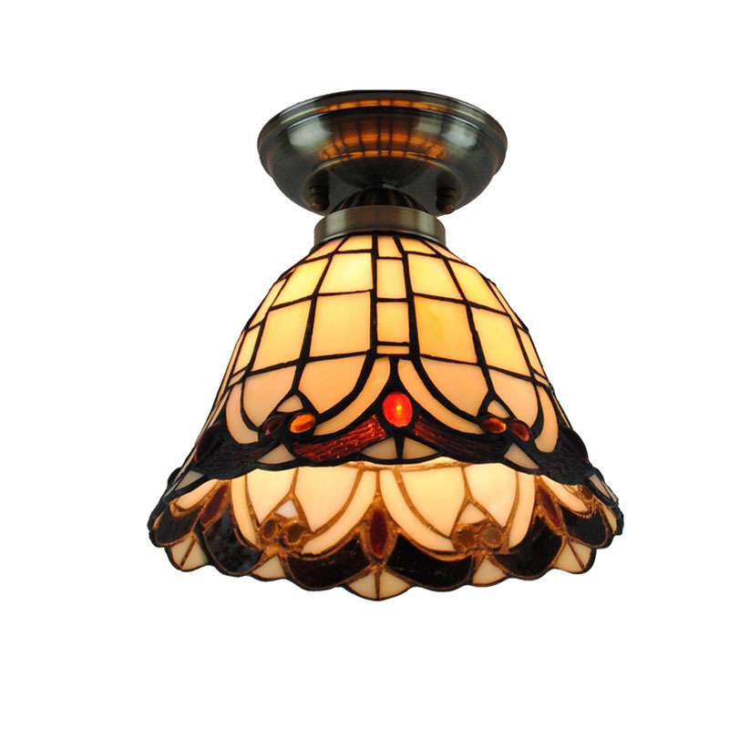 8 Inch Retro Tiffany Stained Glass Flush Mount Lamps Vintage Metal Base Balcony Hallway Restaurant Shell Ceiling Lights CL224