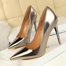 New fashion metal with high heels women's shoes high-heeled shallow mouth pointed sexy nightclub was thin single shoes стоимость