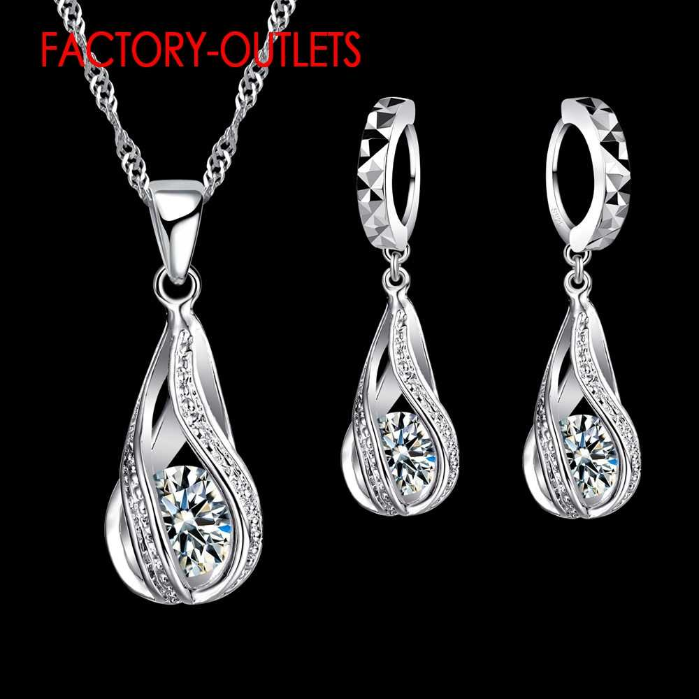 925 Sterling Silver Bridal Jewelry Sets Romantic Style Round CZ Crystal Women Girls Engagement Anniversary Wholesale