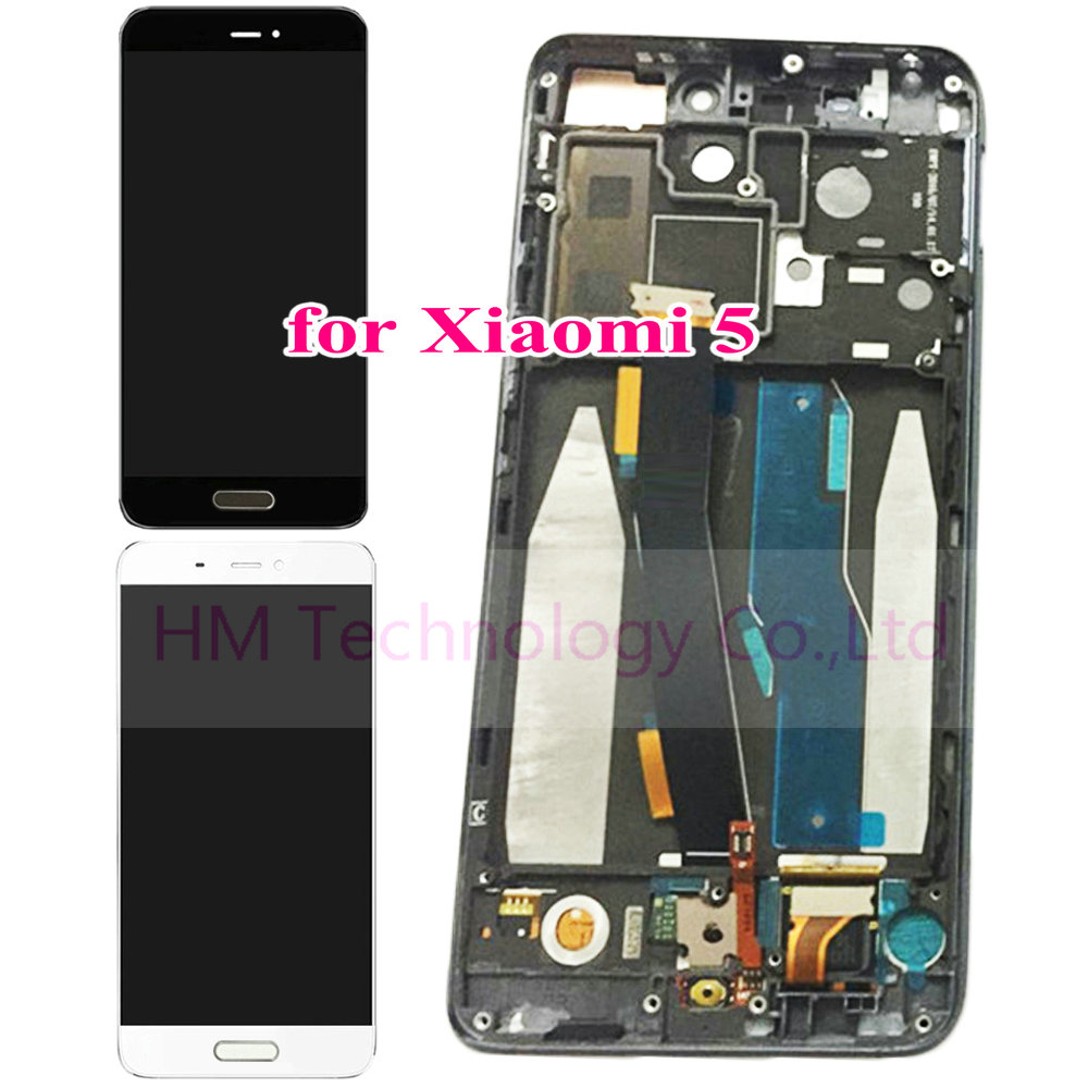with Frame and Fingerprint Key for Xiaomi Mi5 Mi 5 M5 LCD Display Touch Screen Digitizer