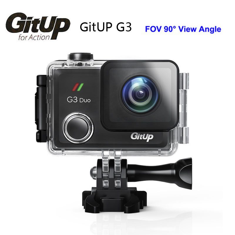 Gitup G3 Duo 90 Degree Lens Action Camera 2K 12MP 2160P Sport Action Camera 2.0 Touch LCD Screen GYRO Optional GPS Slave Camera gitup gps module slave camera combination for g3 duo camera