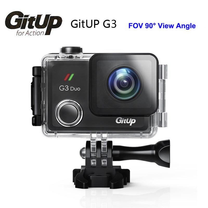 Gitup G3 Duo 90 grados acción lente 2 K 12MP 2160 P deporte acción Cámara 2.0 LCD táctil pantalla giroscopio GPS opcional cámara de esclavos