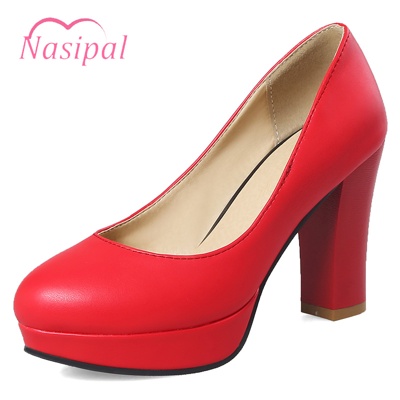 Nasipal Women Pumps Round Toe Solid Thick high Heel Lolita Shoes Ladies Party Platform Wedding Shoes Dress Shoes Shallow C626 brand fashion beading crystal solid gladiator pumps thick high heel round toe velvet bird cage party women wedding shoes l0f1