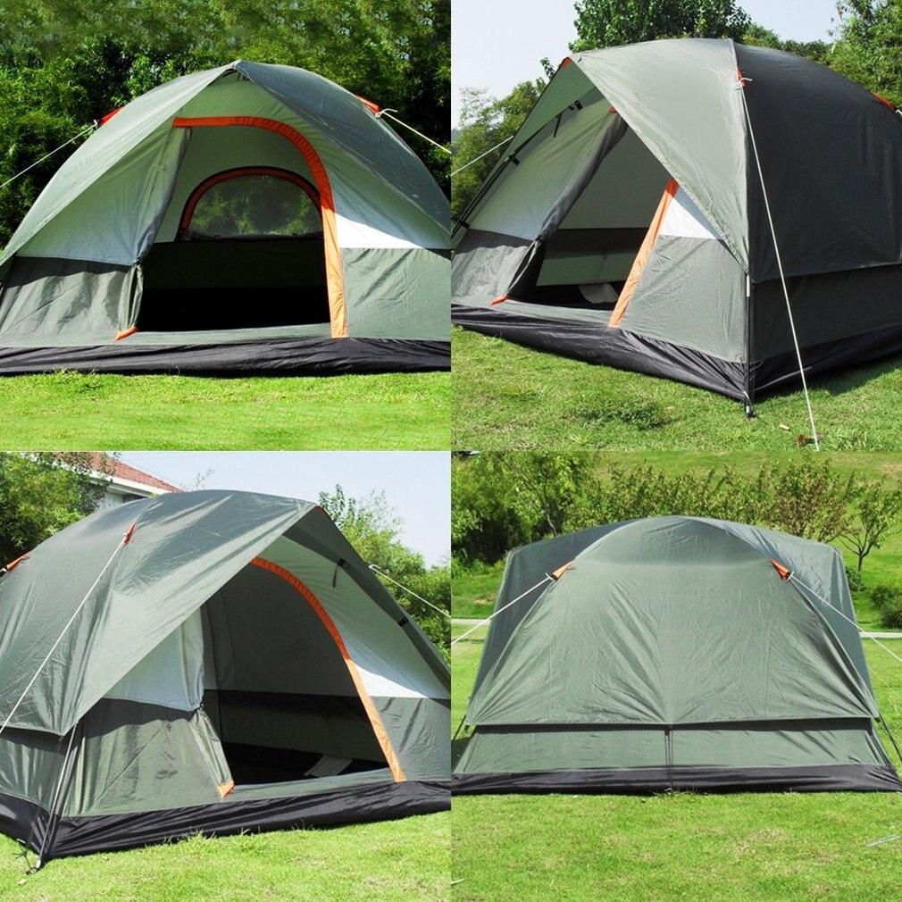 3-4 personne Coupe-Vent Tente de Camping Double Couche Imperméable Ouvert Anti-uv Touristique Tentes Pour La Randonnée En Plein Air Plage Voyage Tienda - 5