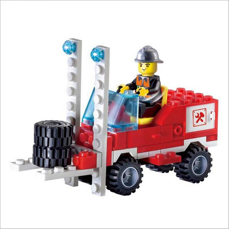 WJ214 130pcs/set Fire Fighting Truck with dolls DIY Building Blocks Toy Children Educational Brinquedos Gifts