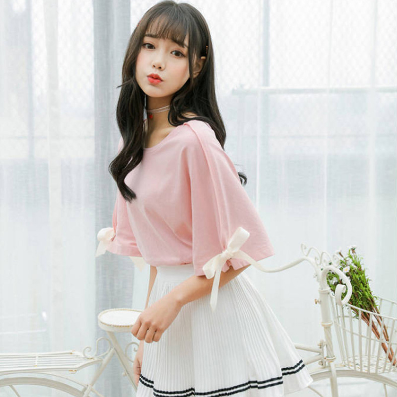 Korean Style Kawaii T Shirt Summer New Women Short Sleeve Bow Pink White Tshirt Harajuku Ulzzang Loose Solid T-shirts Female Top