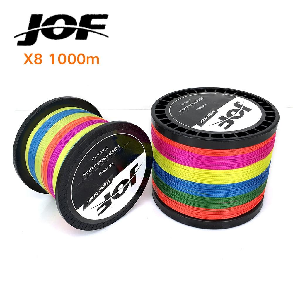 Extreme Strong JOF PE 1000M Multi-color Braid Fishing <font><b>Line</b></font> PE Multifilament 15LB 20LB 30LB 40LB 50LB 60LB 80LB 8 STRANDS