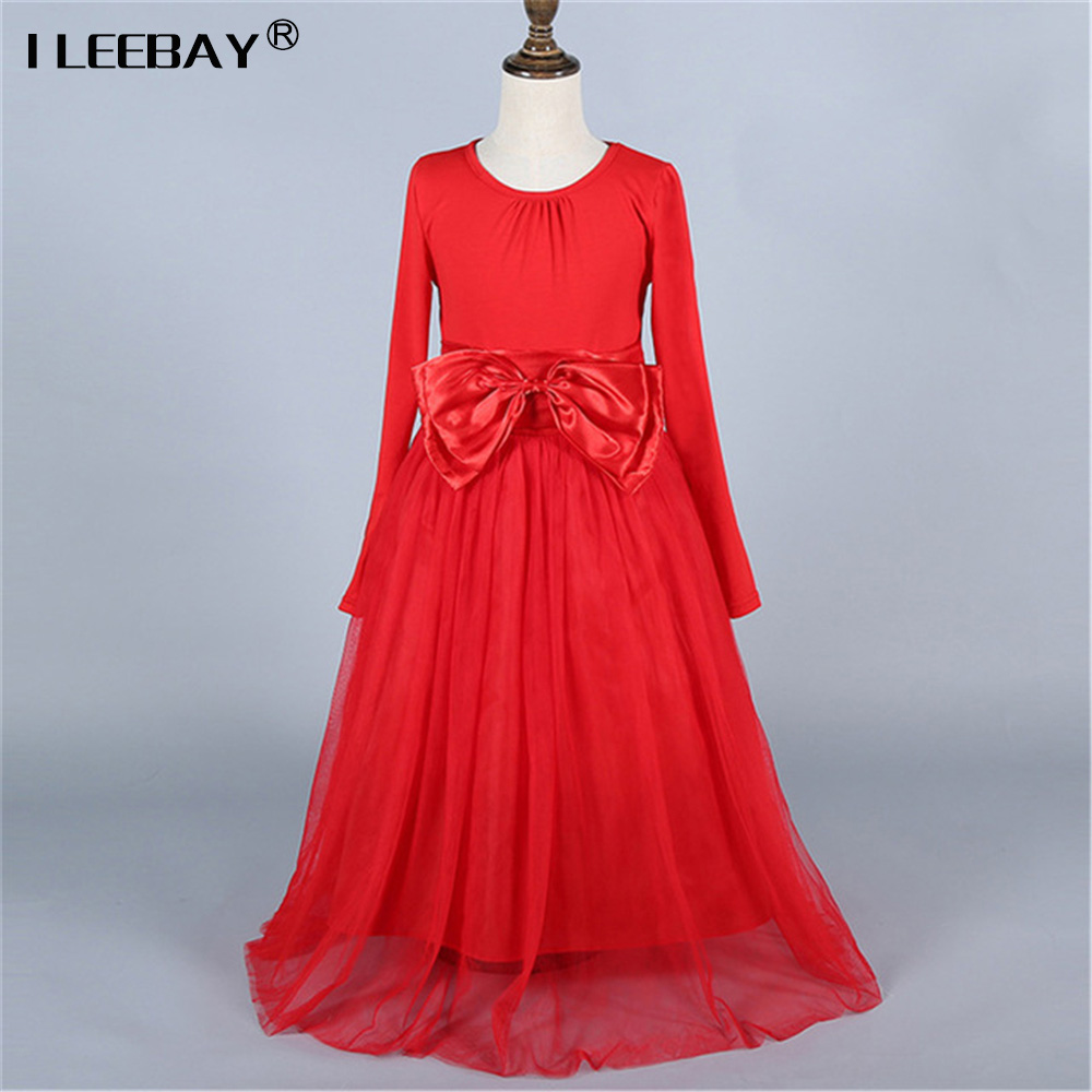 Big Bow Girl Dress Weeding Party Dress Long Sleeve Princess Ball Gown  Kids Baby Dress Pageant Wear Spring Autumn Party Costume lace party big baby girl dress long sleeve autumn cotton bow red white princess dress kids baby girl dress children clothing