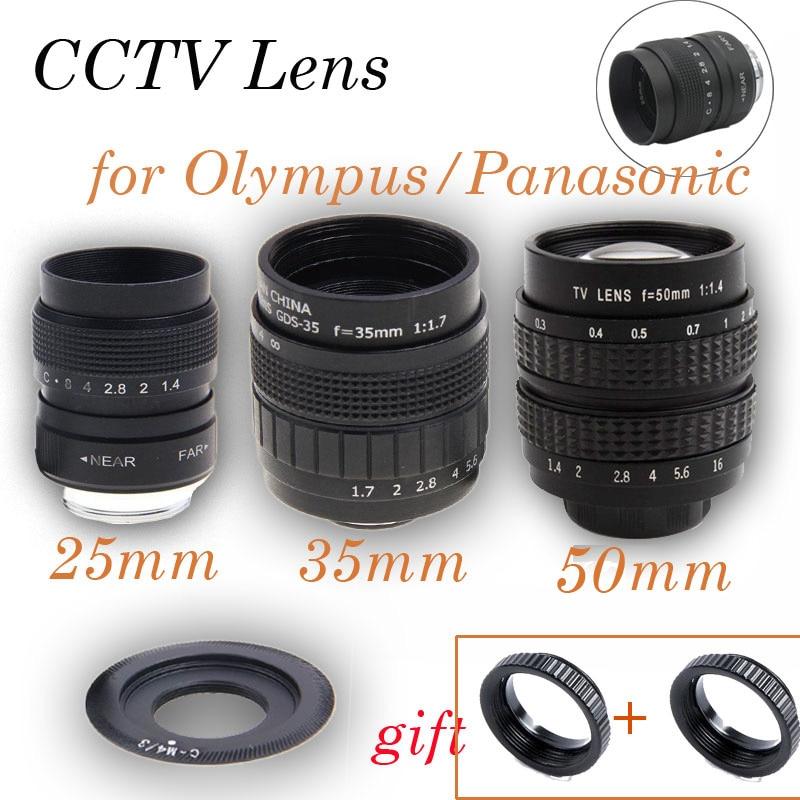 3in1 CCTV Lens 25mm f1.4 Lens/ 35mm f1.7/50mm f1.4 Mount Ring Kit for Olympus Panasonic Micro M4/3 G7 G6 G5 G10 G3 GX7 GM5 GH3 35mm f1 7 cctv lens macro rings c m4 3 adapter ring set for olympus panasonic silver