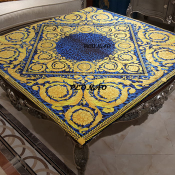 2018 New Style New Arrivals European Style Home Table Cloth Golden Floral Blue Color Tablecovers