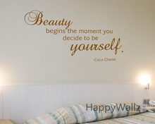 Motivational Quote Wall Sticker Beauty Begins The Moment You Decide to Be Yourself DIY Inspirational Lettering Decal