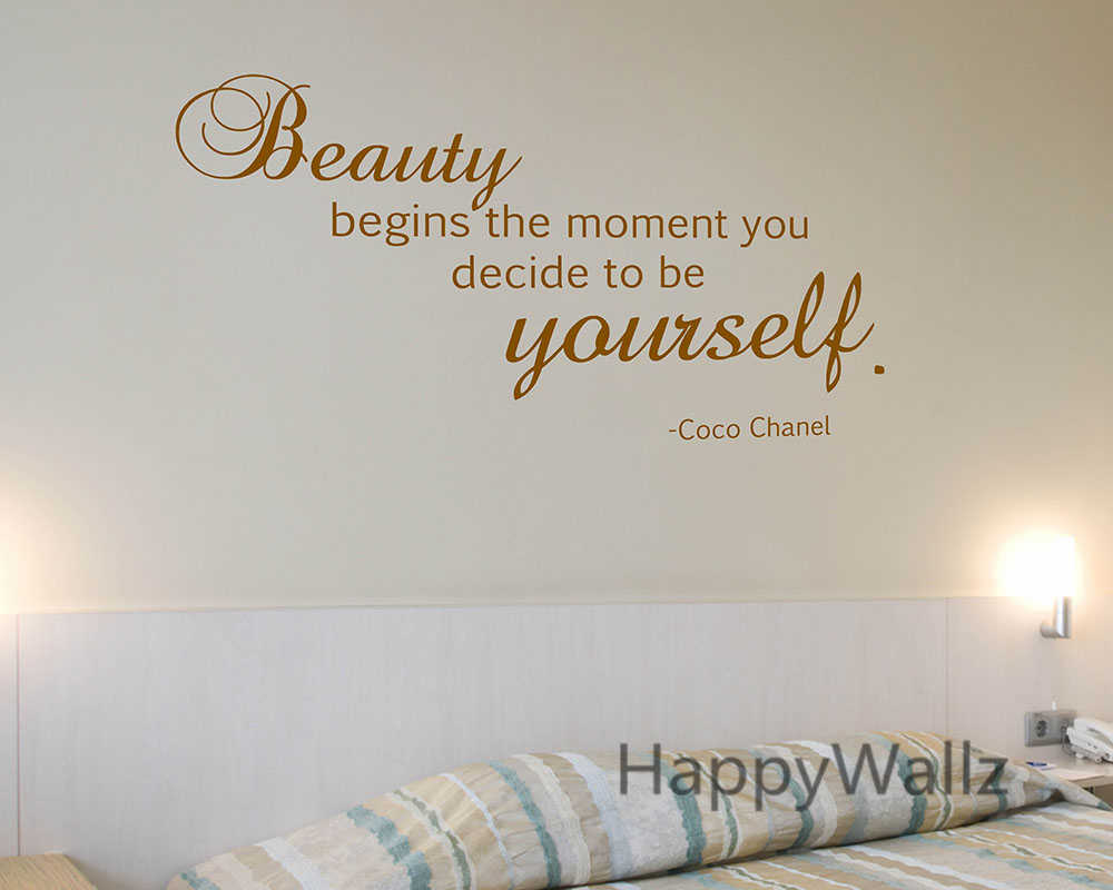 3392f7bce57e Motivational Quote Wall Sticker Beauty Begins The Moment You Decide Be  Yourself Inspirational Quote Wall Decal