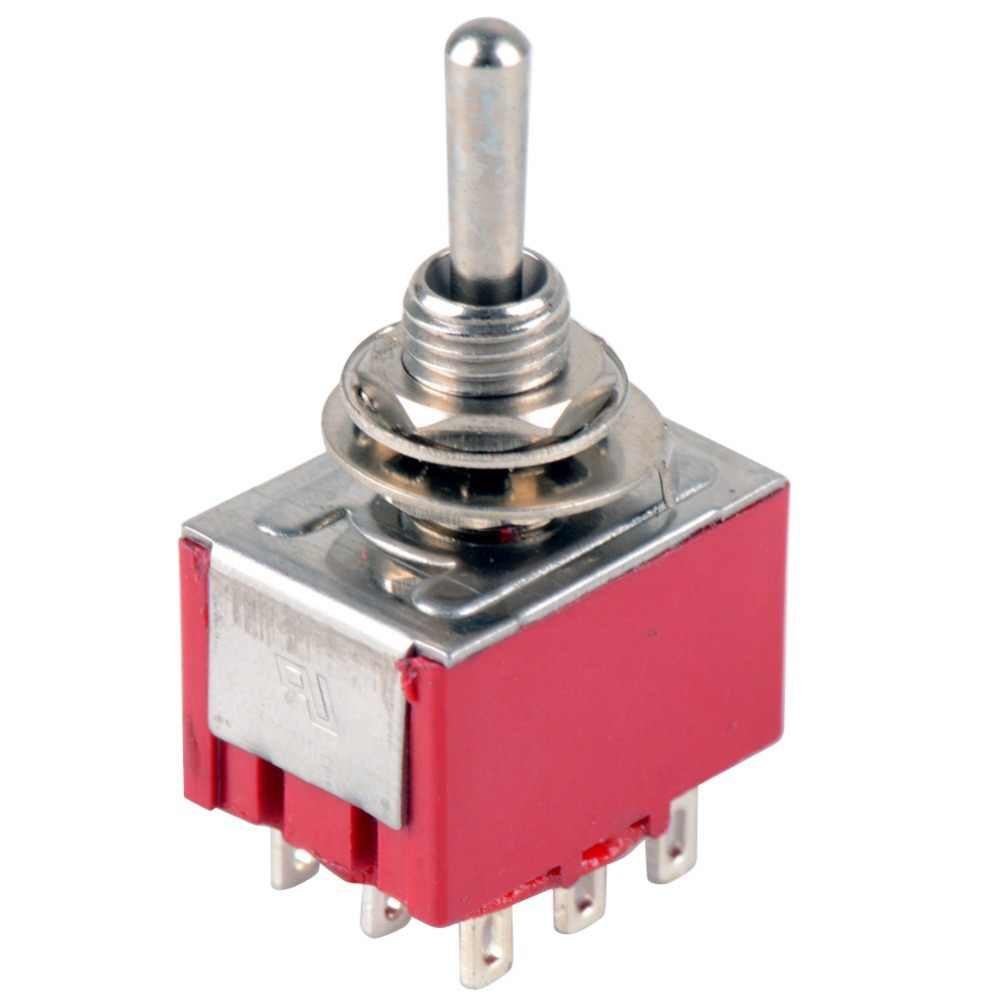 1 PC Baru Merah 9 Pin On-Off-On 3 Posisi Mini Atur Saklar AC 6A/125V 3A/250V VE521