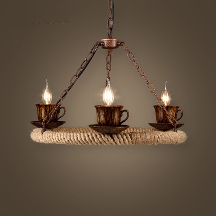 Loft Style Iron Rope Industrial Lamp Teacup Vintage Pendant Light Fixtures Dining Room LED Hanging Droplight Indoor Lighting