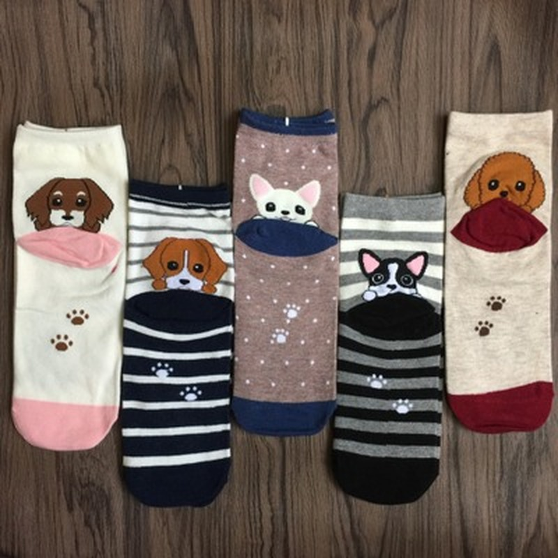 Hot Sale Causal Puppy Heel Socks Unisex Cartoon DogWomens Mens Autumn Cotton Fashion Striped Squares Tube Socks