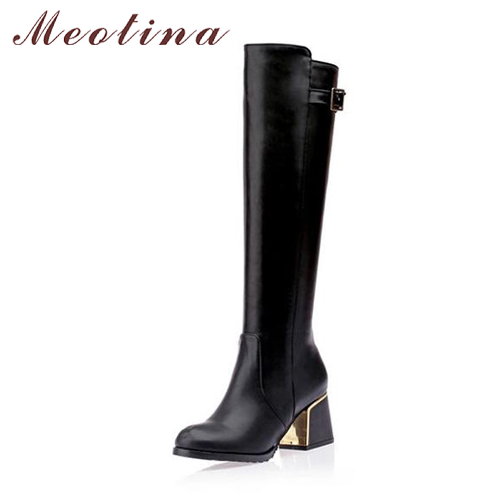 Meotina Luxury Women Knee High Boots Winter Snow Boots Fur Warm Motorcycle Boots Ladies Thick High Heels Shoes Black Size 45 12