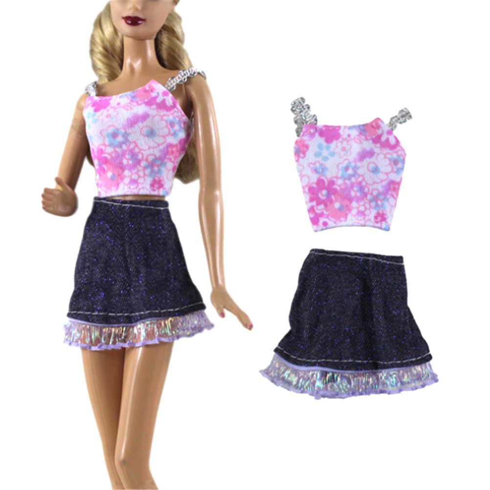 最新 2 ピース/セットファッション現代衣装セクシーなカジュアルコートシャツドレスのスカートベルトの服人形 Diy アクセサリーギフト