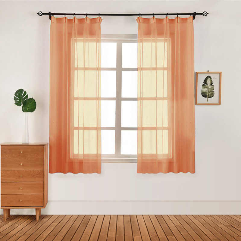 European and American Style Window Screening Solid Curtains Drape Panel Sheer Tulle for Living Room Window Curtains Valances