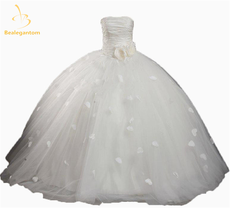 2019 New Sexy Ball Gown   Flower     Girl     Dresses   with   Flowers   Pleat Tulle Floor-Length   Girls   Pageant Gown First Communion   Dresses   L94
