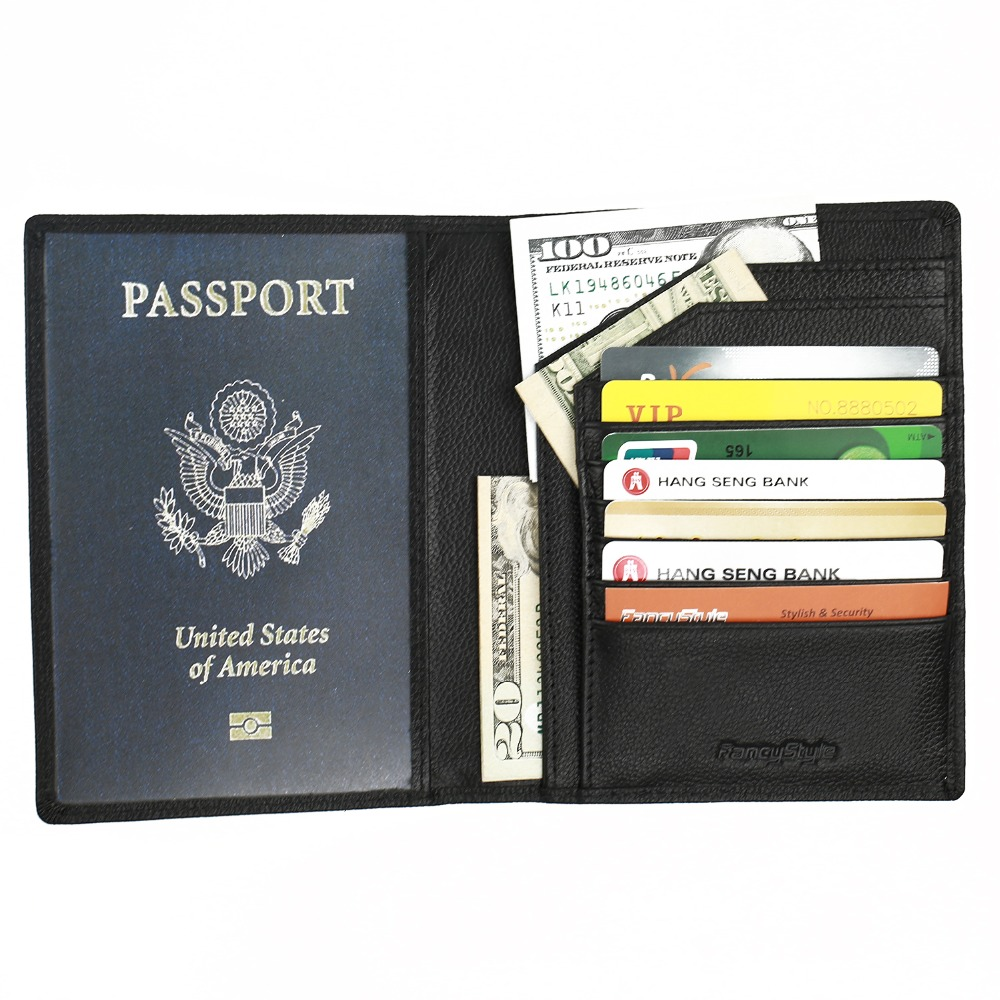 Fancystyle Travel RFID Passport Protectors Holders Black Leather Rfid Blocking font b Wallet b font Security