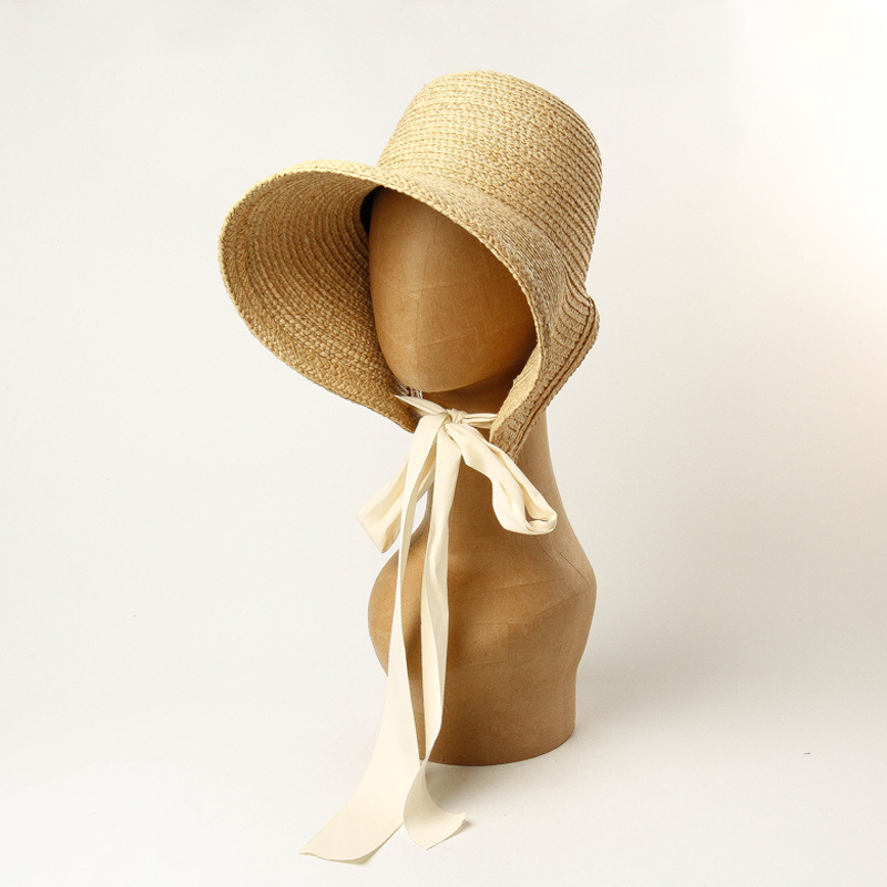 01907-HH7386  Provence French Rural Restoring Ancient Ways Handmade Raffia Grass  Leisure Lady Straw Sun Cap  Women Paper Hat